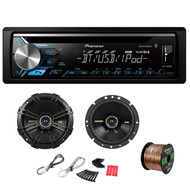 Pioneer DEH-X3900BT Single DIN Bluetooth In-Dash CD/AM/FM Car Stereo Receiver w/ Kicker 40CS674 6-3/4 Inch 600W CS-Series Black Coaxial Speakers(Pair) & Enrock Audio EB16G50FT-CCA 16G 50' Speaker Wire
