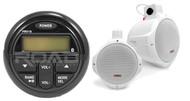 "6.5"" White Marine Wakeboard Speakers, Milennia Marine Bluetooth USB AUX Stereo"