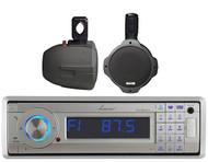 "2 Black 6.5"" 200W Wake Board Marine Speakers, Lanzar Bluetooth USB AUX Receiver"
