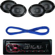 "Pioneer DEH-X2800UI Single Din In Dash CD Player Receiver with USB, AUX, Mixtrax, Remote Control, Kenwood 6X9"" 3-Way Speaker 550W, 14 Gauge 50 Foot Speaker Wire"