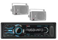 "2 Silver 3.5"" Box Marine Speakers&MR1308UABK Bluetooth USB iPod AUX AM FM Radio"