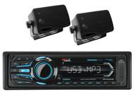 """2 Black Box 3.5"""" 200W Marine Speakers+Boss iPod AUX USB Bluetooth Marine Receiver"""