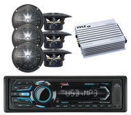 "6 Black 4"" Speakers, 400W Amplifier & BOSS Marine Bluetooth USB AUX AM FM Radio"