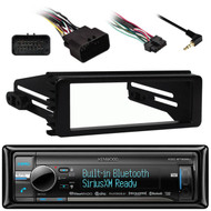 Bluetooth USB CD Kenwood Radio, Harley 98-2013 FLHT FLHX Install Single DIN Kit