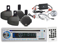 """1200W Bluetooth Amplifier, Pyle CD USB SD Receiver, 6.5""""Black Wakeboard Speakers"""