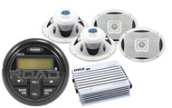"6x9"" White Marine Speaker Set, Milennia Marine USB AM FM AUX Bluetooth Receiver"