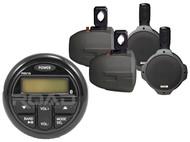 "4 Black Marine 6.5"" Speakers,Marine Milennia Bluetooth USB AM FM AUX Receiver"