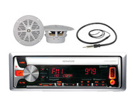 "New KMR-D558 Boat CD/MP3 USB iPod iPhone Receiver W/Bluetooth 4"" White Speakers"