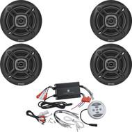 "4 Enrock Black 6.5"" Marine 100W Speakers, 1200W Bluetooth Black Marine Amplifier"