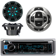 Kenwood KMR-D368BT Marine Boat Yacht CD MP3 Bluetooth Stereo AM/FM iPod iPhone Radio Player, Kenwood KCA-RC35MR Wired Remote, Kicker KM654LCW 6.5 Inch 2-way Marine Speaker Pair with Built-In LED Lighting