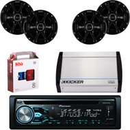 "DEH-X4900BT Bluetooth CD MP3 USB Player & Remote, 4 X 41DSC654 Kicker 6.5"" Car Speaker, Kicker 4-Channel 400 Watts Marine Amp, 8 Gauge Car Amp Install Kit"
