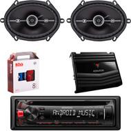 "Kenwood KDC-122U Car Audio CD USB Strereo, Pair Kicker 41DSC684 6x8"" 4-Ohm Car Speakers, Kenwood KAC-5206 400W  2-Ch Car Amplifier, 8 Gauge Car Amp Install Kit"