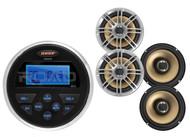 """Marine Jensen 160W Round AUX USB AM FM Receiver, 4 Polk Marine 6.5"""" Speaker Set"""