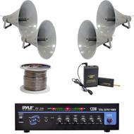 "PT210 Pyle Mono Amplifier,Lavalier Mic System,19.5""PA Horn Speakers,Speaker Wire"