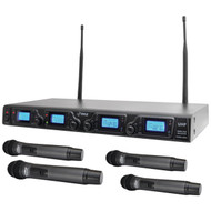 New Pyle PDWM4360U Wireless Microphone System, UHF Quad Channel, 4 Handheld Microphones, Rack Mountable