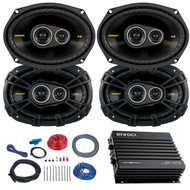 "This Bundle Combo Kit Includes 4X Kicker 40cs6934 6X9"" Inch Car Audio Stereo Speakers + Enrock EKMB500ABT 400 Watt 4 Channel Black Waterproof Amplifier + Boss Complete 8 Gauge Amplifier Installation Kit"