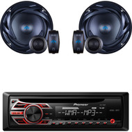"Pioneer CD Radio Receiver AUX Input Wireless Remote LCD Display with LED Backlight 50Watts x 4 Channel output Detachable Face Plate , Pair 300W Peak Power 6.5"" 2-Way 4 Ohms ATS Series Component Car Speakers"