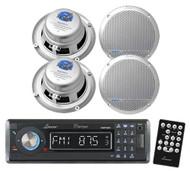 New AQMP70BTB Marine MP3/USB/SD AM/FM Radio W/Bluetooth & 4 new Silver Speakers