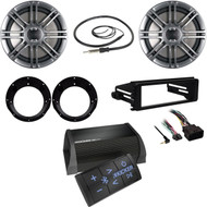 "Harley FLHX Install DIN Kit, Antenna, Bluetooth Amp, Polk 6.5"" Speakers/Adapters"