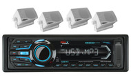 "Boss USB iPod AUX Bluetooth AM FM Marine Radio& 4 3.5"" White Box Marine Speakers"