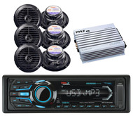 "400W Amplifier,6 Black 6.5"" Boat Speakers& BOSS Marine USB Bluetooth iPod Radio"