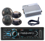 "4 Black 5.25"" Speakers,Amplifier,Antenna& Marine iPod Bluetooth USB Radio Radio"