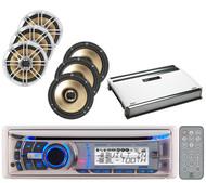"AMB600W Bluetooth CD USB Marine Radio,6 Polk Audio 6.5"" Speakers,720W Amplifier"