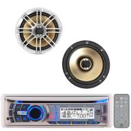 "2 Silver 6.5""330W Marine Polk Audio Speakers,Marine Bluetooth CD iPod Dual Radio"