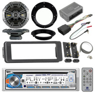 "Dual Bluetooth CD Radio, Kicker 6.5"" Speakers, Harley FLHTC Install Adapter Kit"