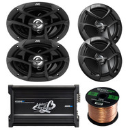 "Bluetooth 2000W 4Channel Amplifier, JVC 6x9"" & 6.5"" Speakers, 50 FT Speaker Wire"