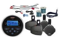 """MS30 Marine USB AUX AM FM Radio/Antenna, Marine Amplifier, 6.5"""" Speakers & Wires"""