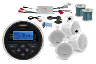 "Marine 8"" Wakeboard Speakers w/Wires,MS30 Marine AUX USB Radio, Marine Amplifier"