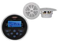 """Marine 160W MS30 USB AUX AM FM Receiver, 2 White Marine 4"""" 100W Marine Speakers"""