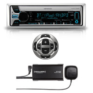 Kenwood Marine Boat CD MP3 Bluetooth Stereo + Marine Remote & SiriusXM Antenna