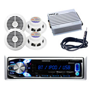 Kenwood USB/AUX iPod Input Marine Receiver, 400W Amp, Antenna, 2 Marine Speakers
