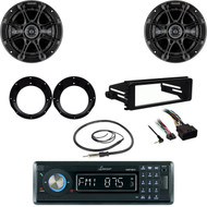 "Lanzar Bluetooth Radio, Harley FLHX DIN Kit, Kicker 6.5"" Speaker Set, Antenna"