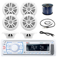 Boss Marine Single Din Receiver, Boss Audio 6.5'' WeatherProof Marine Speakers (White)(3 Pairs), Boss Audio 45 Marine Antenna (Black), Boss 3' Aux Cable, Enrock Marine: 50ft 16-Gauge Speaker Wire