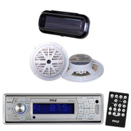 New Silver In Dash Marine Boat CD SD USB Receiver + Bluetooth 2 Speakers /Cover