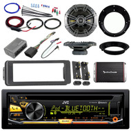 "Harley Bluetooth JVC FLHX Install Adapter Kit,Amplifier Set,Kicker 6.5"" Speakers"