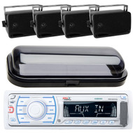 Marine Boat MP3 AM/FM Radio Player + 4 Black Box Speakers & Cover