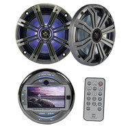 "Dual Marine 3"" LCD Screen Bluetooth USB Player, Kicker Marine 6.5"" LED Speakers"