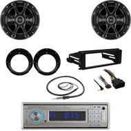 Bluetooth USB Lanzar Radio, Antenna, Speaker Set, Harley FLHX Dash Install Kit