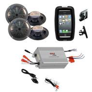 Boat Bike Marine Grade Set 4 Black Speakers,4 Channel Power Amplifier,Phone Case