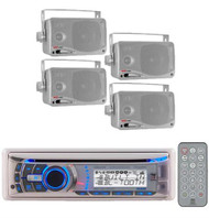 240Watt Dual Marine Boat Yacht In Dash CD MP3 AUX Receiver 4 Pyle Box Speakers