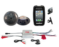 Bike Bicycle Marine iPod MP3 Input Amplifier, 2 Black Round Speakers, Phone Case