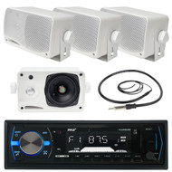 Pyle PLMRB29B Bluetooth In-Dash Stereo Radio Headunit Receiver, Pair PLMR24 Pyle 3.5'' 200 Watt 3-Way Weather Proof Mini Box Speaker System (White), EKMR1 Enrock Marine Wire Antenna (Black)