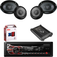 "1 X In Dash Pionner DEH150MP Car Receiver, 1 X Pair Kenwood KFC6966S  6X9"" Speaker, 1 X Pair Kenwood KFC1665S 6.5"" Speakers, 1 X Lanzar HTG447 4 Ch Amp, 1 X 8g Install Kit"