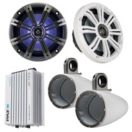 "Marine Speaker Package of 1 Pair (Total of 2) Kicker KM654LCW 6.5"" LED Light Marine Boat Audio Speakers Bundle Combo With 2 Kicker KMTESW 6""-6.5"" Wakeboard Tower Enclosures + Waterproof Bluetooth 400 Watt Amplifier"