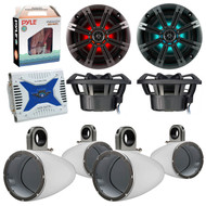 "Marine Speaker Package Of 2 Pairs (Total of 4) Kicker 41KM654LCW 6.5"" Boat Coaxial LED White Speaker Package + 4 Kicker 12KMTESW Marine White Tower Enclosure + Waterproof Bluetooth Amplifier With Amp Installation Kit"