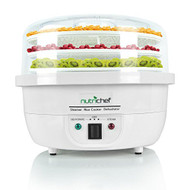NutriChef 3-in-1 Food Dehydrator & Steamer Cooker - Electric Kitchen Dehydrator - Jerky Maker - Dried Fruits -Steam Rice White color (PKFDSRC10WT)